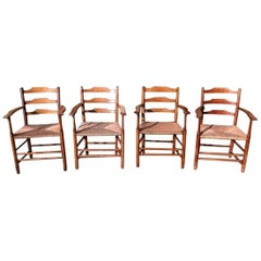 E Gardiner & P Clissett Four Arts & Crafts Cotswold School Ladder Back Armchairs