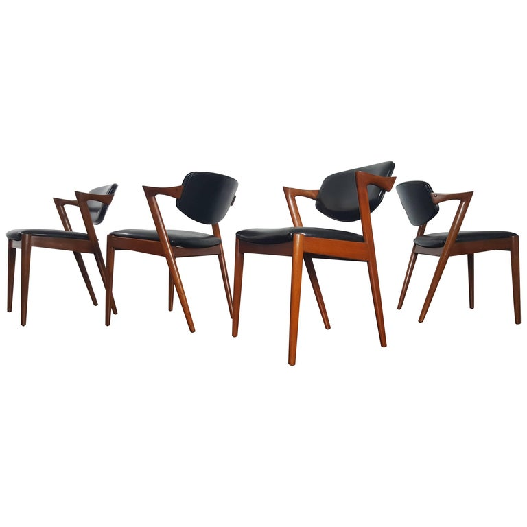 Four Kai Kristiansen Model 42 Teak Frame Dining Chairs for Schou Andersen, 1960s