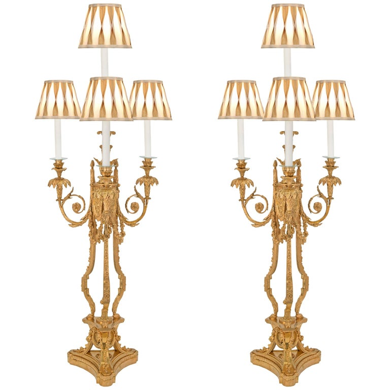 Pair of French Early 19th Century Louis XVI St. Ormolu Candelabra Lamps