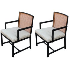Pair of Modern Michael Taylor New World Group Two-Tone Cane Back Lounge Chairs