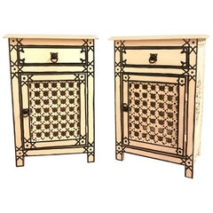 Pair of Hand-Painted Moroccan Nightstands or End Tables