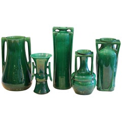 Awaji Pottery Art Deco Architectural Buttress Handled Vases, circa 1920