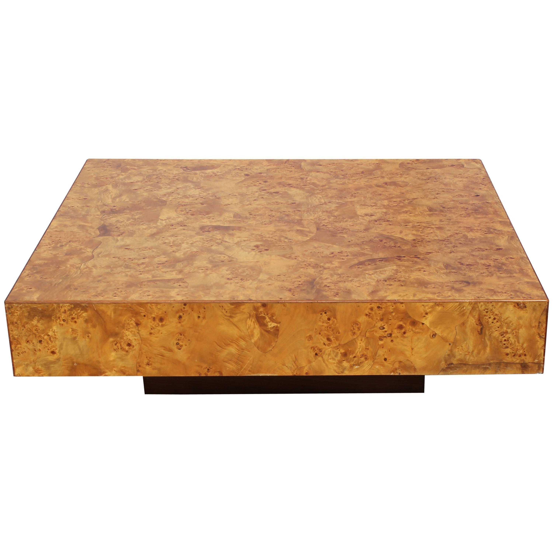modern italian milo baughman style square burl wood coffee table 1