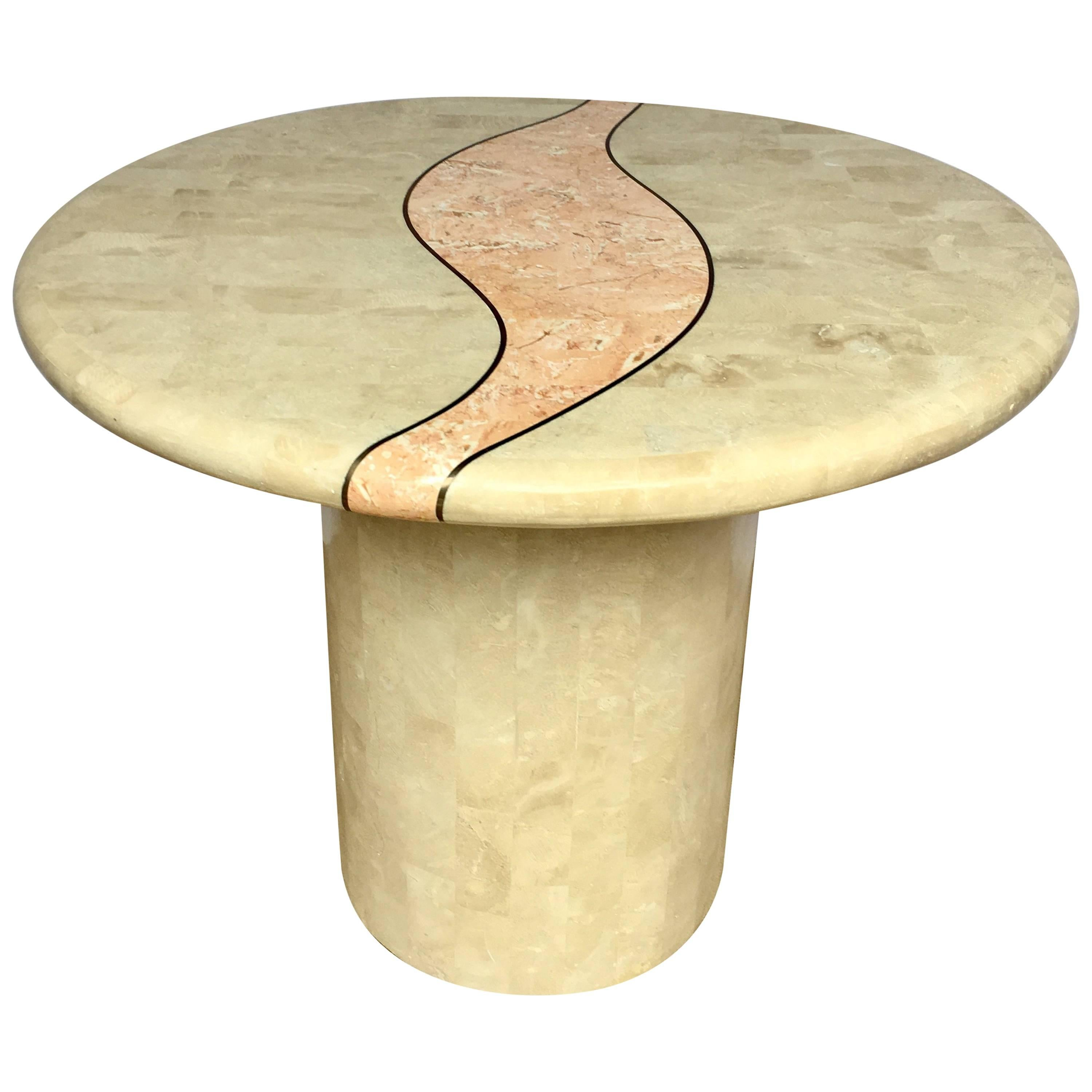 Casa Bique Round Tesselated Fossil Stone Side Accent Table, Maitland Smith