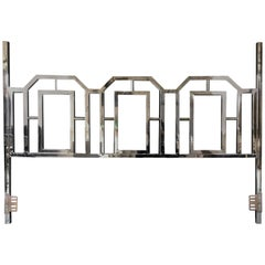 Milo Baughman Four Poster Queen Size Chrome Canopy Bed At