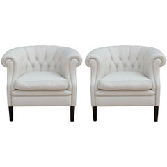 Pair of Hollywood Regency White Leather Tufted Chesterfield Style Lounge Chairs