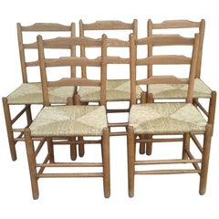 Edward Gardiner Five Arts & Crafts Ladder Back Dining Chairs with New Rush Seats