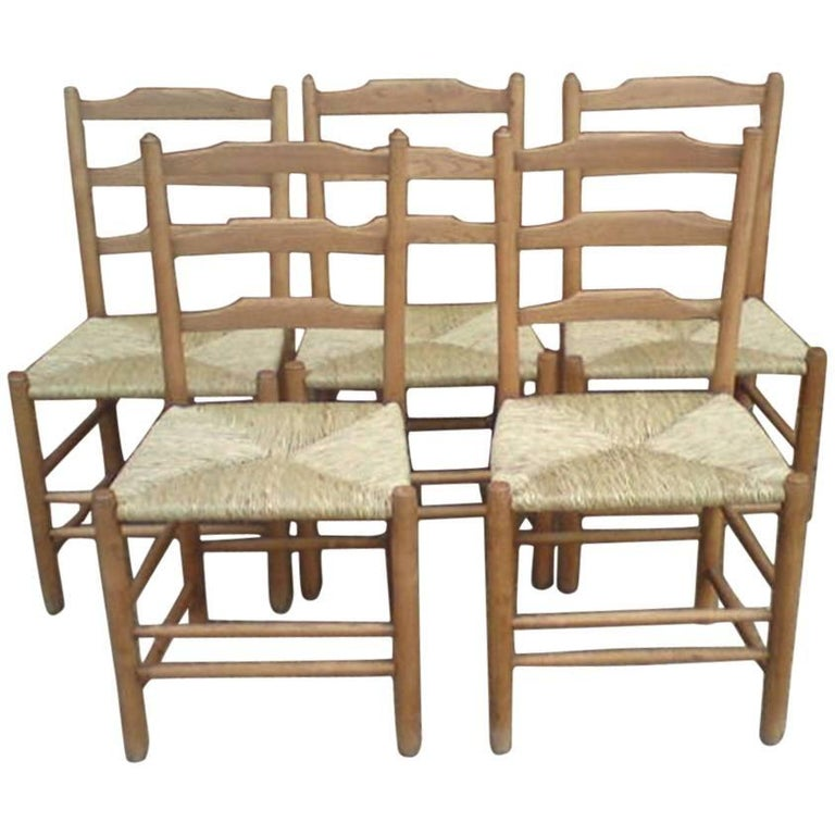 Edward Gardiner Five Arts & Crafts Ladder Back Dining Chairs with New Rush Seats For Sale