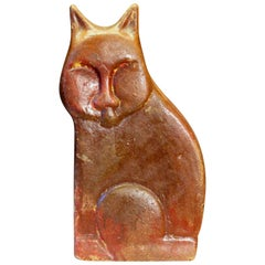 Large Vintage or Antique Folk Art Pottery Sewer Tile Type Cat Figure Sculpture