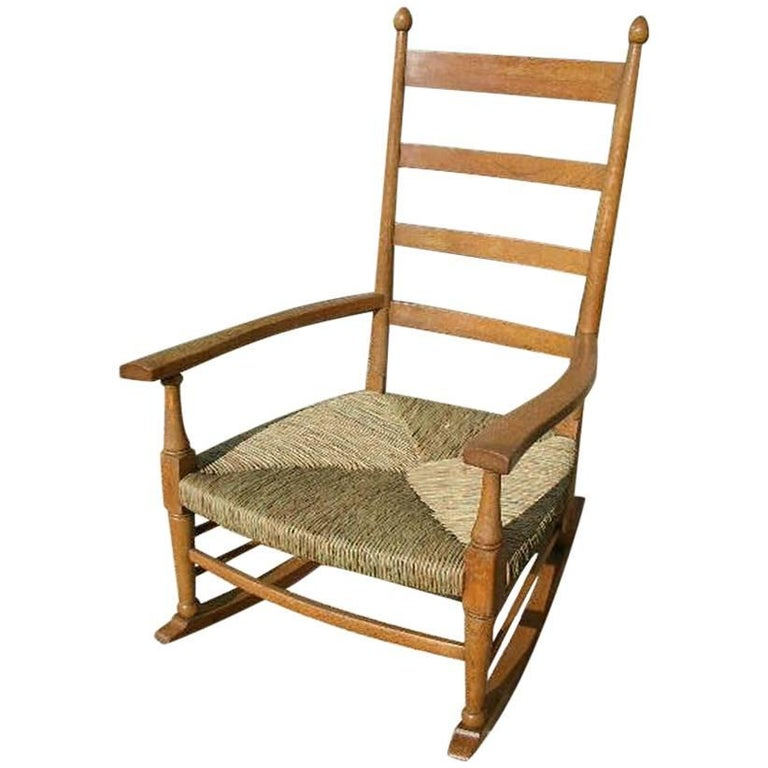 William Birch an Arts & Crafts Light Oak Rocking Chair with Newly Laid Rush Seat For Sale