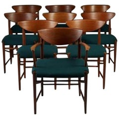Exceptional Peter Hvidt Dining Chars and Armchairs Set, Rare First Edition
