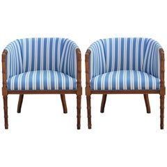 Pair of Hollywood Regency Faux Bamboo Blue and White Striped Lounge Chairs