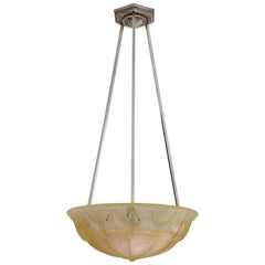 Muller Freres French Art Deco Pendant Chandelier, circa 1925