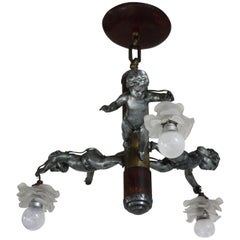 Art Deco Three-Light Cherub Chandelier, France, circa 1925
