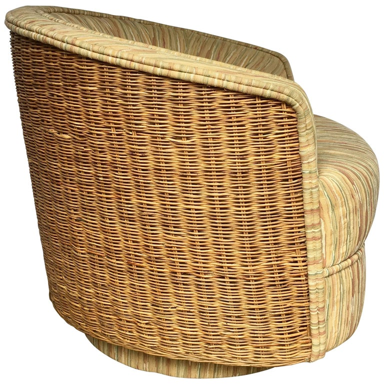 Mid-Century Modern Milo Baughman Style Rattan Wicker Barrel Swivel Lounge Chair For Sale