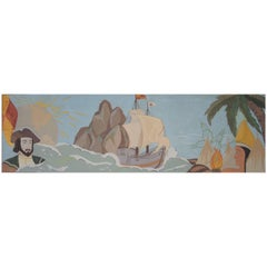 Painted Panel from a Theatre Illustrating Columbus 1492 Voyage to America