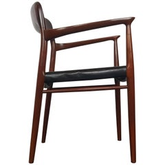 Model 56 Armchair in Teak and Black Leather by Niels Otto Møller