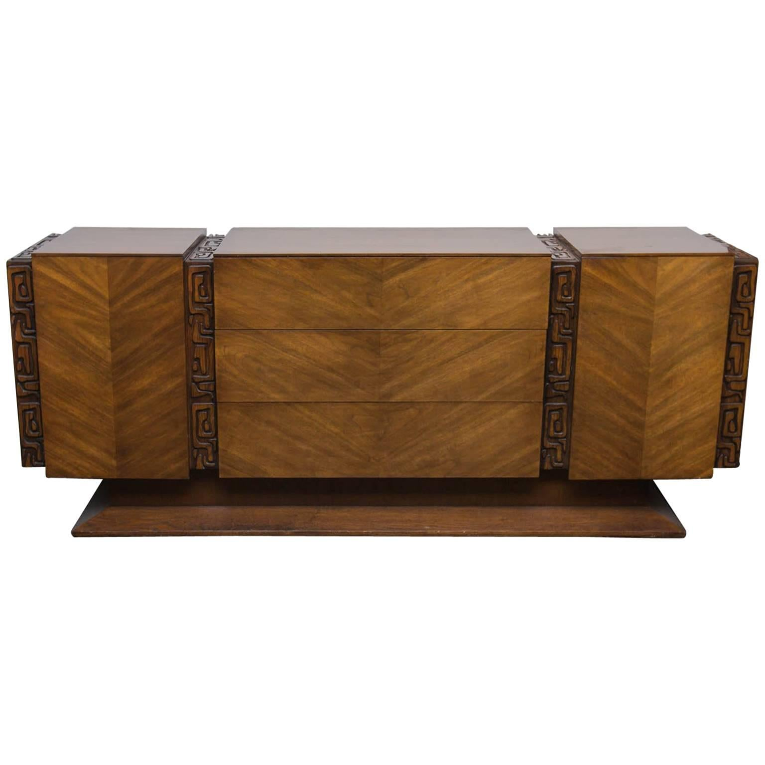 Brutalist Midcentury Walnut Triple Dresser By United Furniture