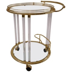 Italian Lucite and Brass Bar Cart or Trolley by Orsenigo