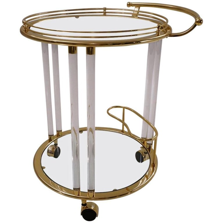 Italian Lucite and Brass Bar Cart or Trolley by Orsenigo For Sale