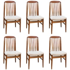 Set of Six Danish Modern Ansager Mobler Teak Dining Chairs