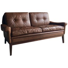 Skipper Møbler Danish Brown Leather Two-Seat Settee Midcentury, circa 1970s