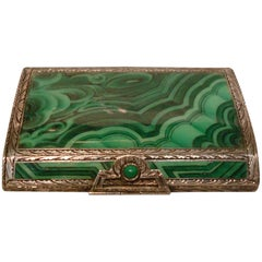 Art Deco Italian Silver Malachite Enamel Cigarette, Vanity Case, Box