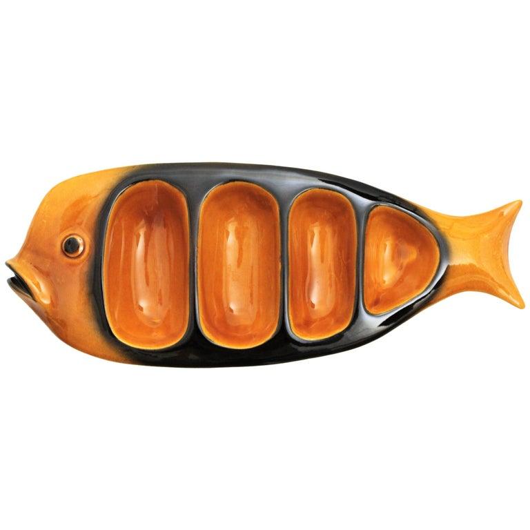 Large Amber & Black Majolica Glazed Ceramic Fish Platter for Snacks, Spain 1950s