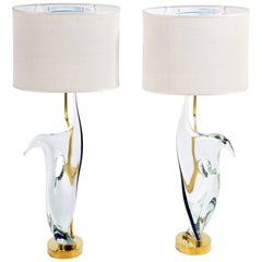 Midcentury Table Lamps Transparent Murano Glass and Brass by Cenedese
