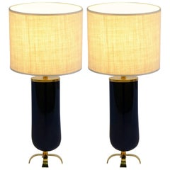 Pair of Midcentury Oval Murano Glass Table Lamps by Cenedese, Signed
