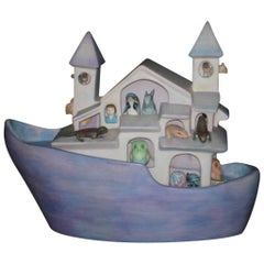 Signed Ceramic Noah's Ark by Mexican Artist, Sergio Bustamante
