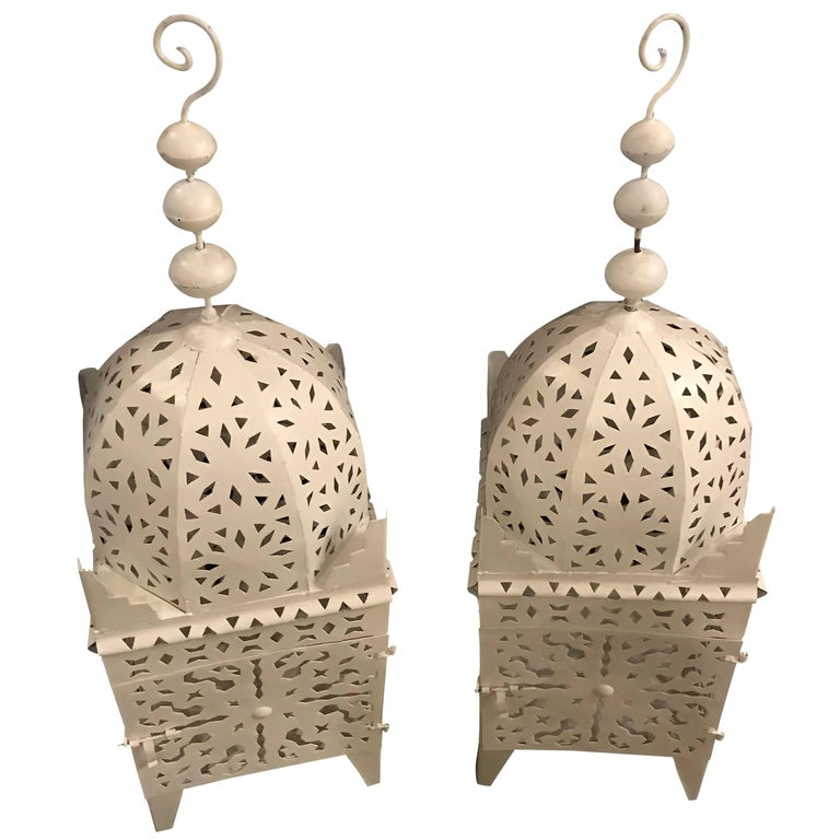 Pair of White Moroccan Floor Candle Lanterns