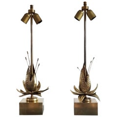 Faux Pair of Charles Style Solid Brass Flowers Table Lamps, France, 1970s