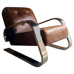 Alvar Aalto Design 400 Tank Armchair Chromed Frame Brown Buttoned Leather