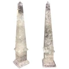 Large Modern Hand-Carved and Hand Polished Rock Crystal Obelisks