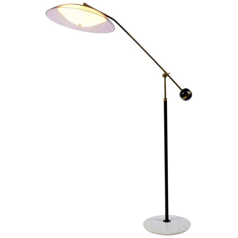 Stilux Milano Italian Midcentury Adjustable Standig  Floor Lamp ,1960 For Sale