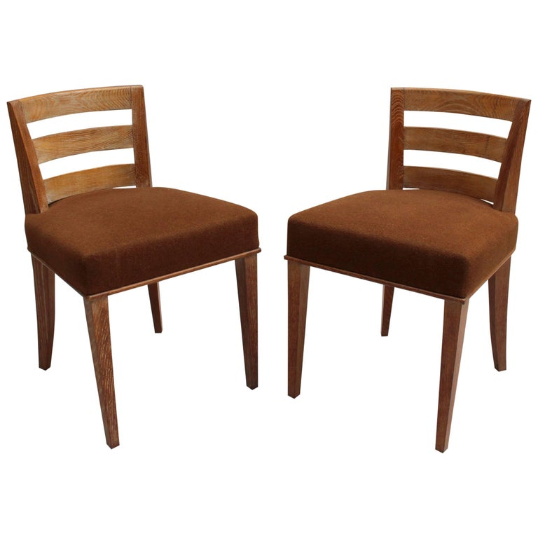 Pair of French Art Deco Lime Oak Side Chairs by Dominique