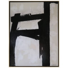 """""""Bold Encounter"""" Original Black and White Abstract by Karina Gentinetta, Signed"""