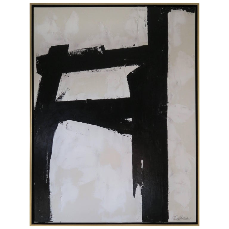 """""""Bold Encounter"""" Original Black and White Abstract by Karina Gentinetta, Signed For Sale"""