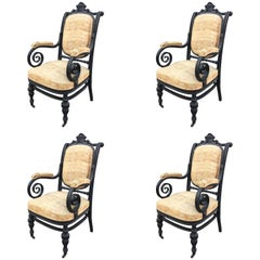 Set of Four Curved and Blackened Wood Armchairs, Attributed to Thonet