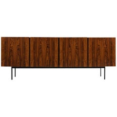 1960s Minimalist Sideboard Rosewood and Maple on Metal Base, Mid-Century Modern