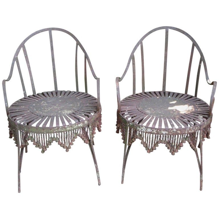 Hand-Forged Iron Chain Tassel Design Armchairs For Sale