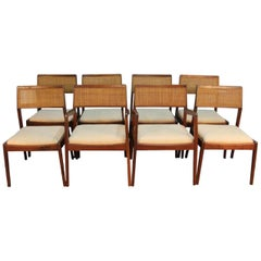 Early 1950s Original Jens Risom Caned Dining Chairs and Armchairs Set