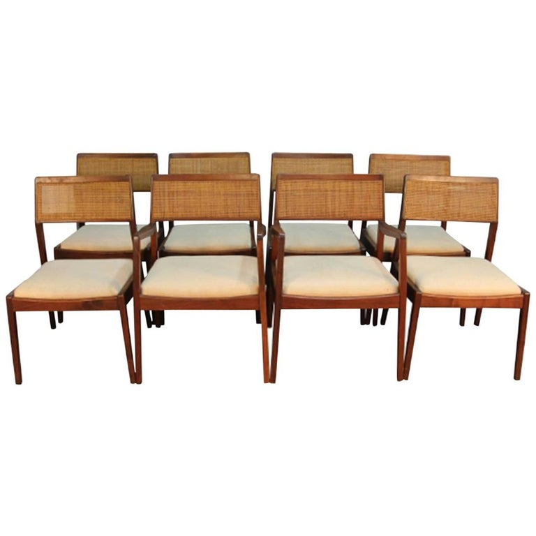 Early 1950s original jens risom caned dining chairs and armchairs set for sale at 1stdibs - Jens risom dining chairs ...