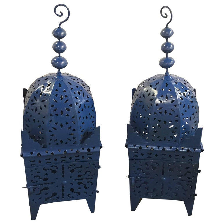 Pair of Moroccan Blue Floor Candle Lanterns