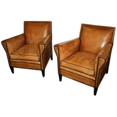 Lounge Club Vintage Leather Armchairs, Italy