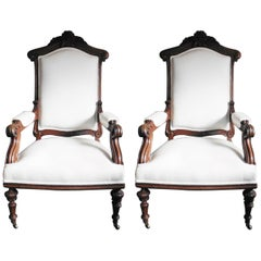 Pair of French Large Oak Armchairs, circa 1880
