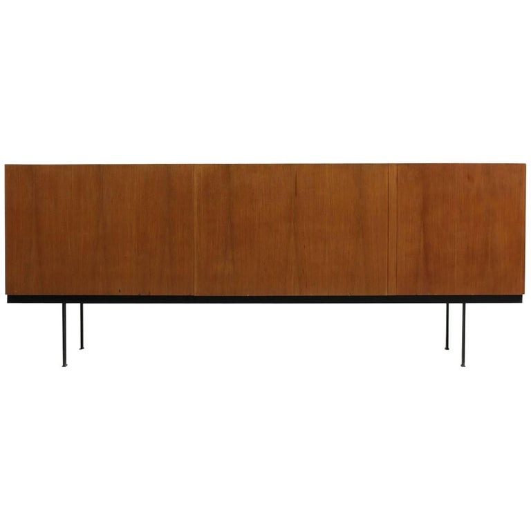 1960s Minimalist Sideboard Teak & Maple on Metal Base Mid-Century Modern Design
