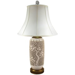 Blanc de Chine Table Lamp in Blossom Pattern