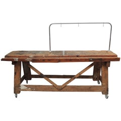 Belgian Carpenters Work Bench Table with Tool Hanging Rack
